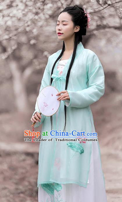 Ancient Chinese Song Dynasty Princess Green Hanfu Dress Embroidered Lotus Costumes for Women