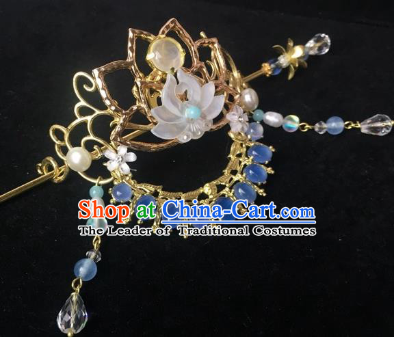 Chinese Traditional Hair Accessories Shell Lotus Phoenix Coronet Ancient Hanfu Tassel Hairpins for Women