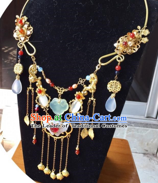 Handmade Chinese Traditional Accessories Hanfu Jade Butterfly Tassel Necklace for Women