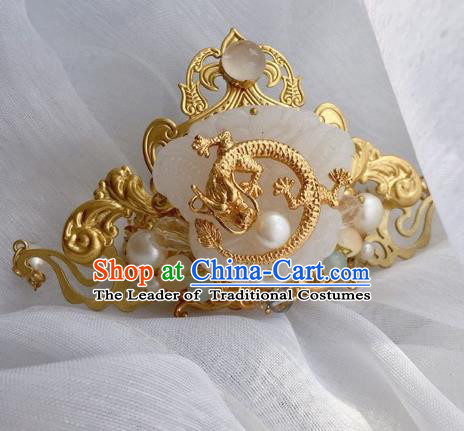 Chinese Traditional Ancient Hair Accessories Swordsman Hairpins Jade Dragon Tuinga for Men