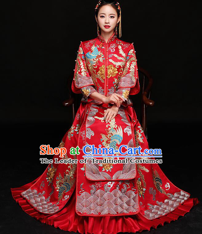 Traditional Chinese Female Wedding Red Costumes Ancient Embroidered Phoenix Bottom Drawer XiuHe Suit for Bride