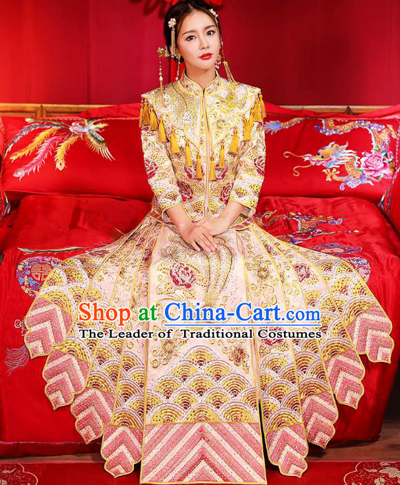 Traditional Chinese Female Wedding Costumes Ancient Embroidered Peony Pink Bottom Drawer XiuHe Suit for Bride