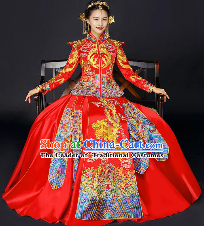Traditional Chinese Female Wedding Costumes Ancient Red Bottom Drawer Embroidered Phoenix XiuHe Suit for Bride