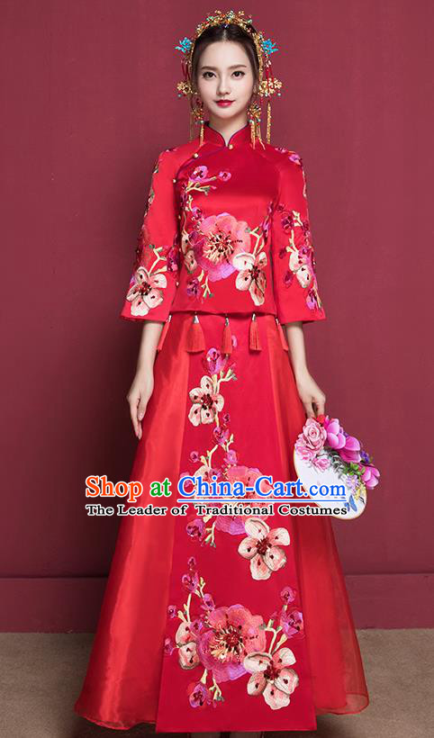 Traditional Chinese Female Wedding Costumes Ancient Red Bottom Drawer Embroidered Peach Blossom XiuHe Suit for Bride