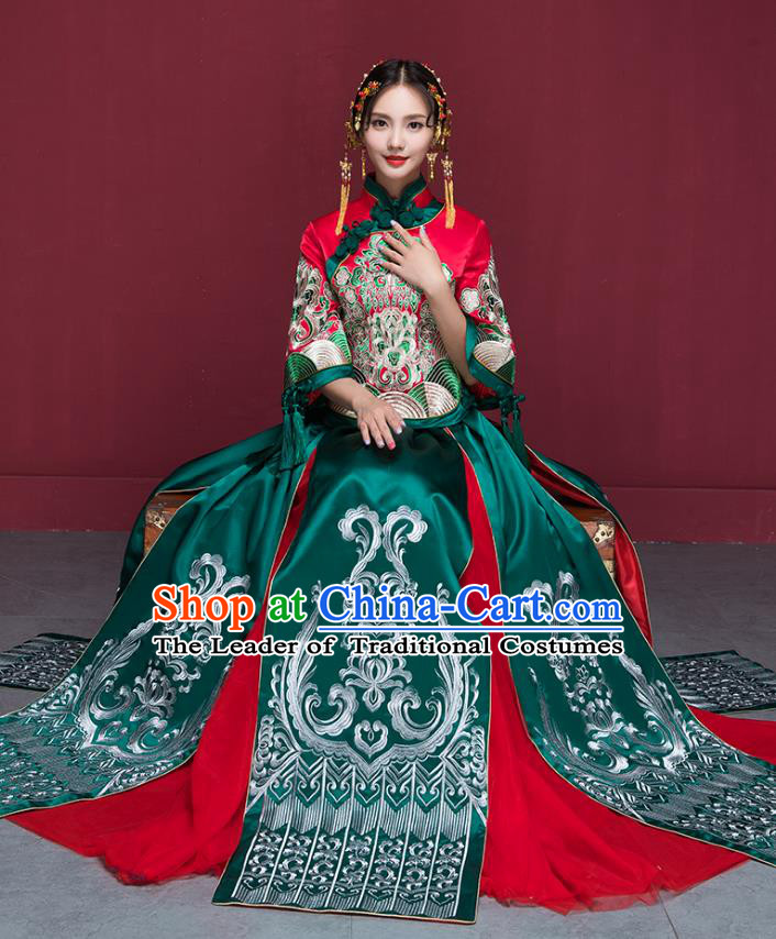 Traditional Chinese Wedding Costumes Green Full Dress Ancient Bottom Drawer Embroidered XiuHe Suit for Bride