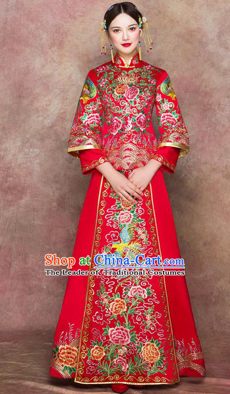 Traditional Chinese Wedding Costumes Embroidered Peony Full Dress Ancient Bottom Drawer XiuHe Suit for Bride