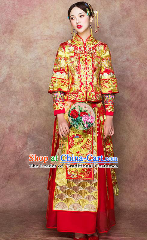 Traditional Chinese Wedding Costumes Embroidered Dragon Full Dress Ancient Bottom Drawer XiuHe Suit for Bride