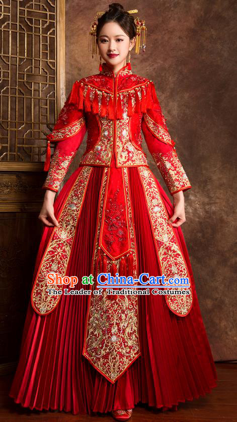 Traditional Chinese Embroidered Diamante Red XiuHe Suit Wedding Costumes Full Dress Ancient Bottom Drawer for Bride