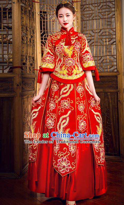 Traditional Chinese Embroidered Red XiuHe Suit Wedding Costumes Full Dress Ancient Bottom Drawer for Bride