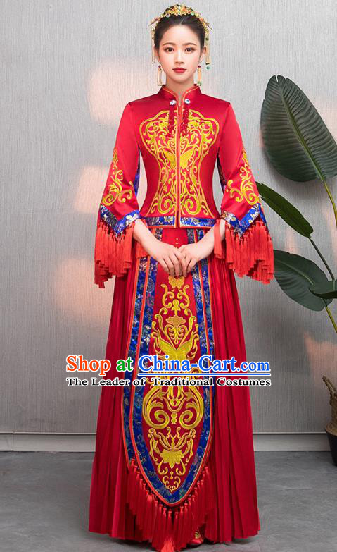 Traditional Chinese Wedding Costumes Embroidered Tassel XiuHe Suit Ancient Bottom Drawer for Women