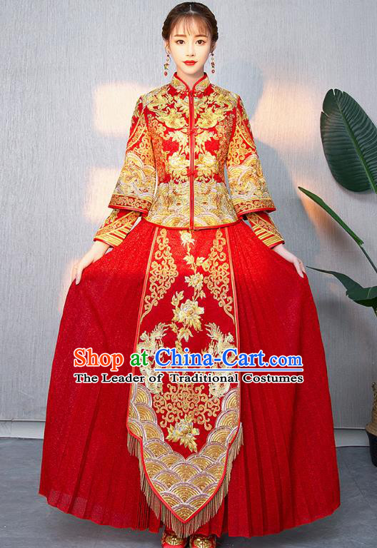 Traditional Chinese Ancient Bottom Drawer Wedding Costumes Embroidered Dragons Peony XiuHe Suit for Women