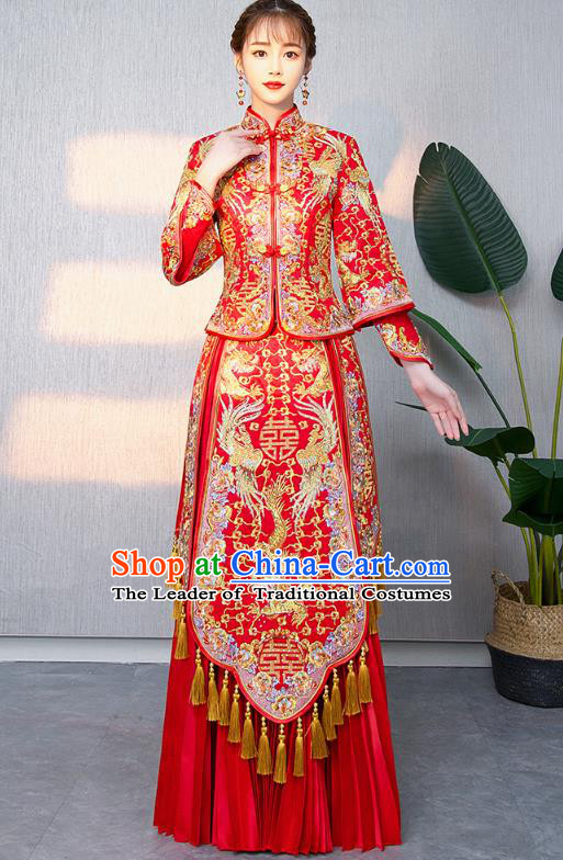 Chinese Ancient Bottom Drawer Traditional Wedding Costumes Embroidered Dragon Phoenix Red XiuHe Suit for Women