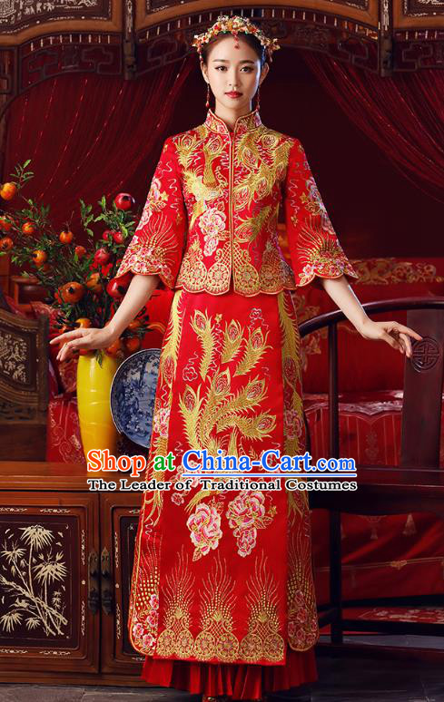 Chinese Ancient Bottom Drawer Traditional Wedding Costumes Embroidered Phoenix Peony Slim XiuHe Suit for Women