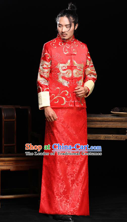 Ancient Chinese Wedding Red Toast Costumes Traditional Bridegroom Tang Suit Long Robe for Men