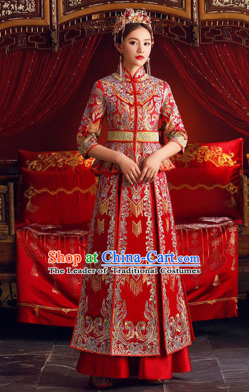 Chinese Ancient Bride Formal Dresses Embroidered XiuHe Suit Traditional Wedding Costumes for Women