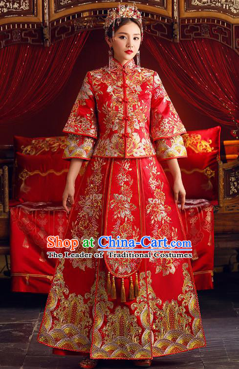 Chinese Ancient Bride Formal Dresses Embroidered Peony XiuHe Suit Traditional Wedding Costumes for Women