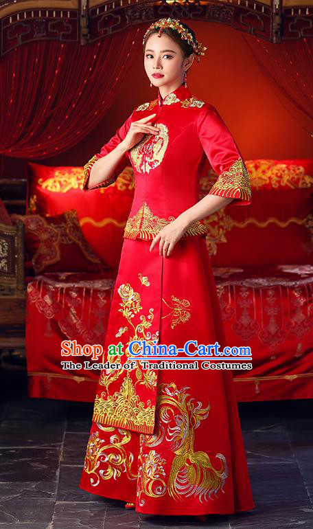 Chinese Ancient Traditional Wedding Costumes Bride Formal Dresses Toast Cheongsam XiuHe Suit for Women
