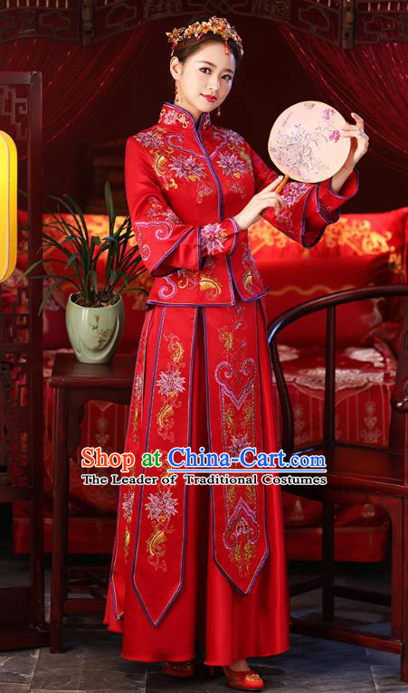 Chinese Ancient Embroidered Peony Wedding Costumes Bride Red Formal Dresses XiuHe Suit for Women