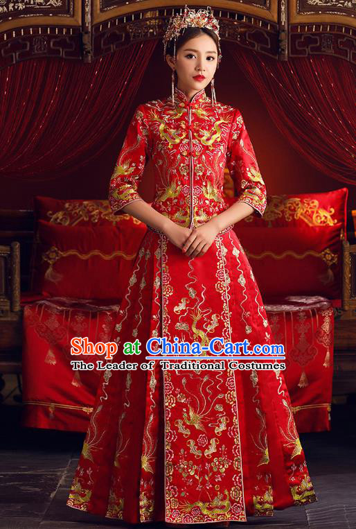 Chinese Ancient Bride Formal Dresses Cheongsam Embroidered XiuHe Suit Traditional Wedding Costumes for Women