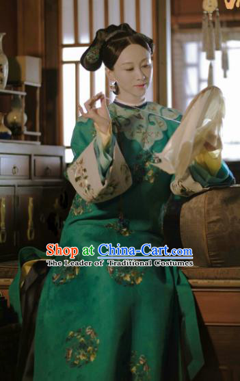 Chinese Ancient Drama Manchu Lady Costume Story of Yanxi Palace Qing Dynasty Imperial Consort Embroidered Clothing for Women
