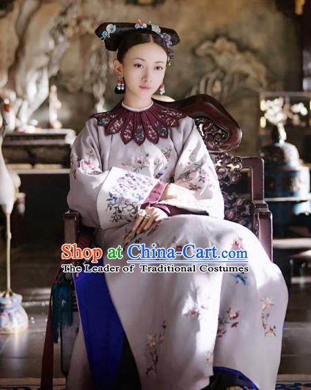Chinese Ancient Drama Manchu Palace Lady Costume Story of Yanxi Palace Qing Dynasty Imperial Consort Embroidered Clothing for Women