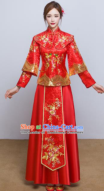 Chinese Ancient Wedding Costumes Bride Red Formal Dresses Embroidered Flowers XiuHe Suit for Women