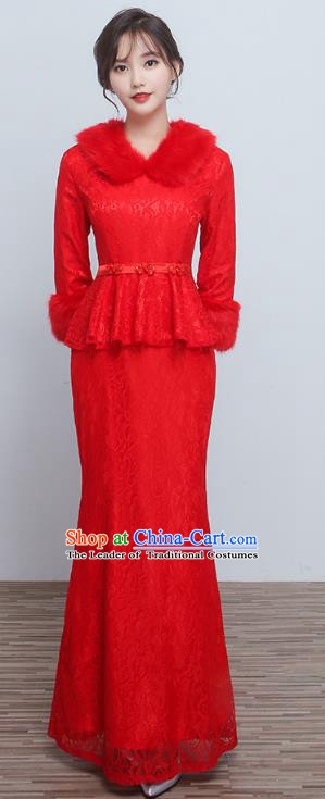 Chinese Ancient Wedding Costumes Bride Formal Dresses Embroidered Toast Qipao Red XiuHe Suit for Women