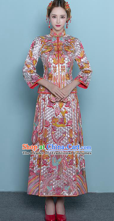 Chinese Ancient Wedding Costumes Bride Formal Dresses Embroidered Toast Qipao Pink XiuHe Suit for Women