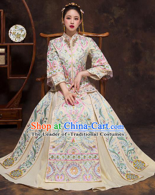 Chinese Ancient Wedding Costumes Bride White Formal Dresses Embroidered Bottom Drawer XiuHe Suit for Women