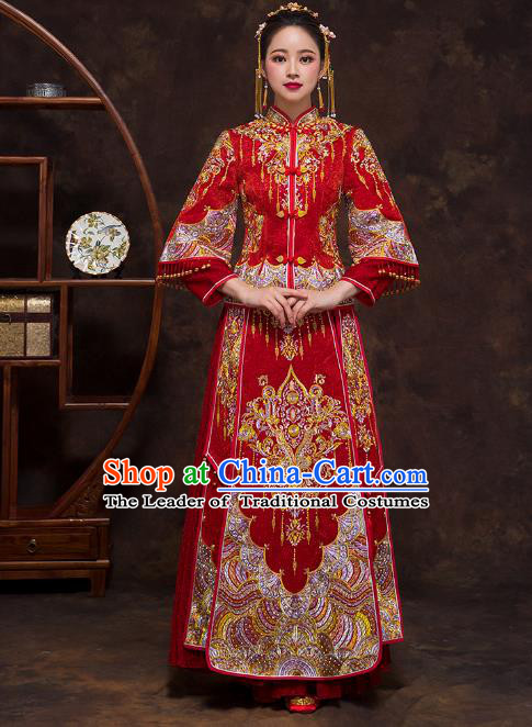 Chinese Ancient Wedding Costumes Bride Formal Dresses Embroidered Red Bottom Drawer XiuHe Suit for Women