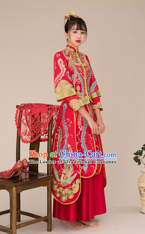Chinese Ancient Bride Formal Dresses Wedding Costume Embroidered Slim Longfenggua XiuHe Suit for Women