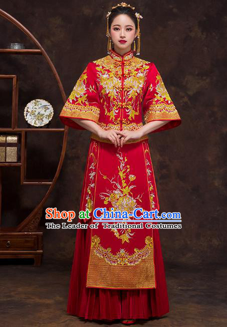 Chinese Ancient Wedding Costumes Bride Formal Dresses Embroidered Chrysanthemum Bottom Drawer Red XiuHe Suit for Women