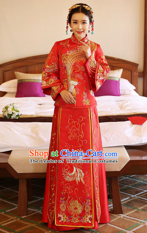 Chinese Ancient Bride Formal Dresses Wedding Costume Embroidered Phoenix Longfenggua XiuHe Suit for Women