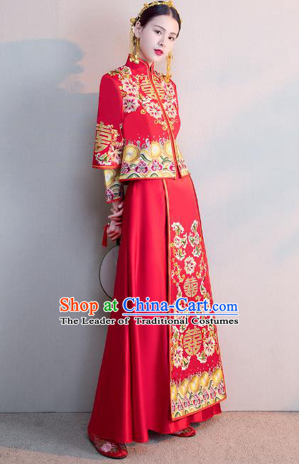 Chinese Ancient Wedding Costumes Bride Formal Dresses Embroidered Longfenggua XiuHe Suit for Women