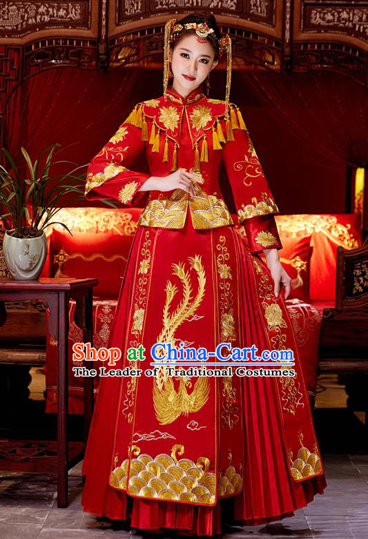 Top Grade Chinese Traditional Red Wedding Dress XiuHe Suit Ancient Bride Embroidered Phoenix Cheongsam for Women