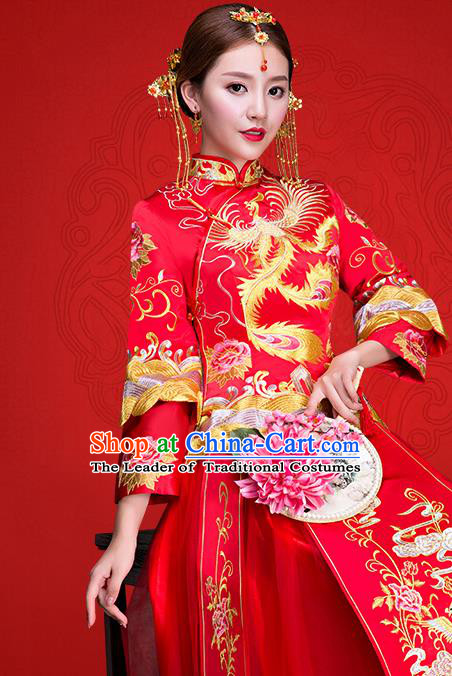 Top Grade Chinese Traditional Wedding Dress Red XiuHe Suit Ancient Bride Embroidered Phoenix Cheongsam for Women