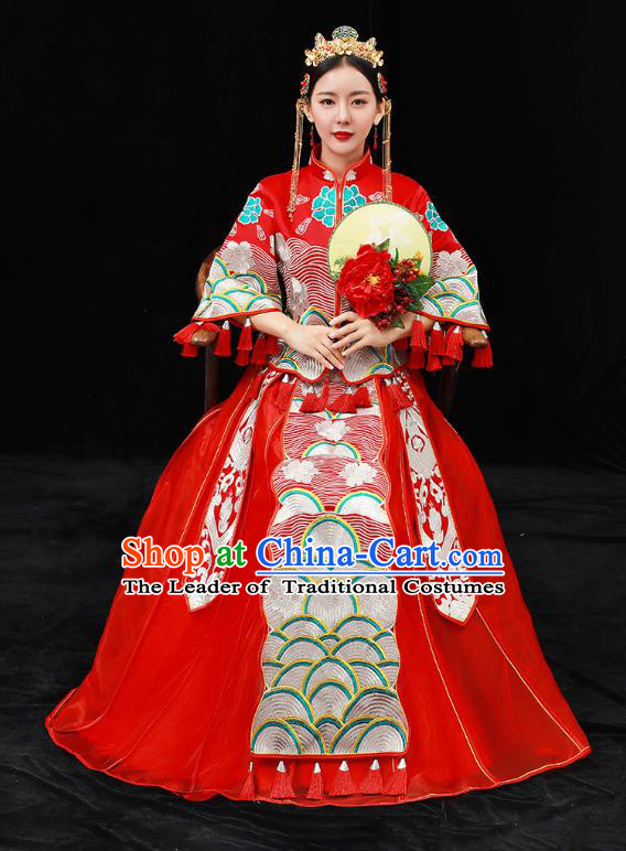 Chinese Ancient Bride Formal Dresses Xiuhe Suit Embroidered Red Cheongsam Wedding Costume for Women