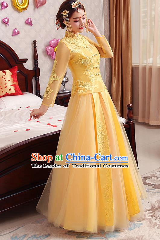 Chinese Traditional Wedding Costume Yellow Veil XiuHe Suit Ancient Bride Embroidered Toast Formal Dress for Women