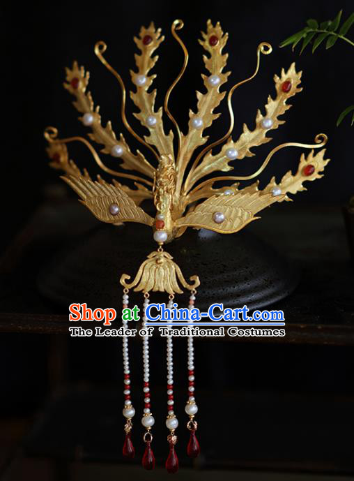 Chinese Traditional Phoenix Coronet Hair Accessories Ancient Empress Tassel Hairpins for Women