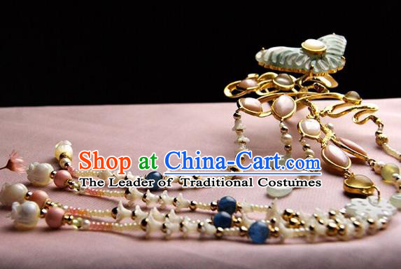 Chinese Traditional Hair Accessories Ancient Empress Jade Butterfly Tassel Hairpins for Women