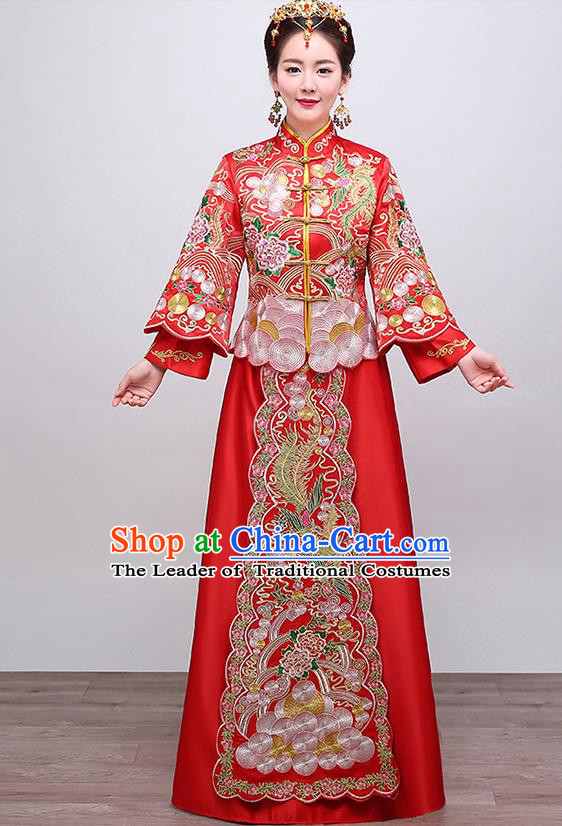Chinese Traditional Wedding Costume Slim XiuHe Suit Ancient Bride Embroidered Formal Dress for Women