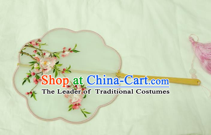 Chinese Traditional Ancient Palace Fan Embroidered Peach Blossom Fans for Women