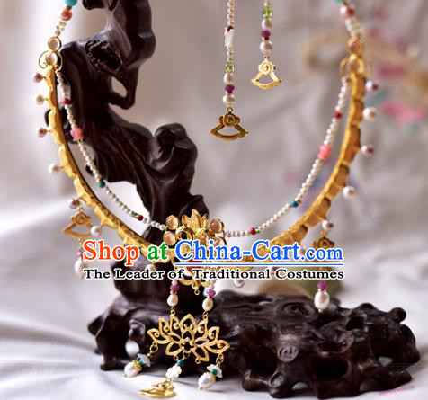 Handmade Chinese Traditional Accessories Hanfu Golden Lotus Necklace for Women