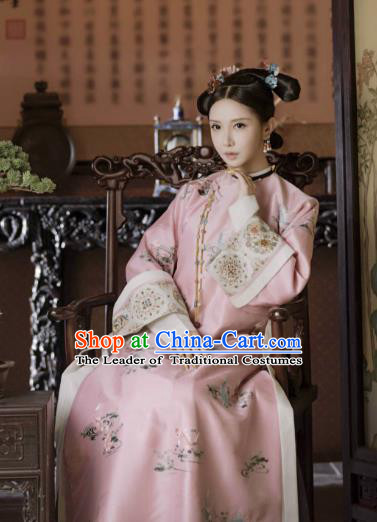 Chinese Ancient Drama Story of Yanxi Palace Qing Dynasty Manchu Imperial Consort Embroidered Costumes for Women