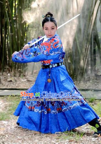 Chinese Ming Dynasty Imperial Bodyguard Costume Ancient Swordsman Embroidered Blue Clothing