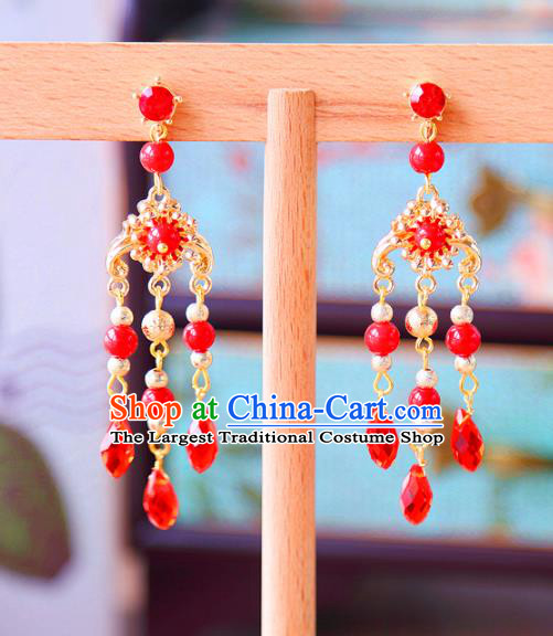 Top Grade Wedding Bride Jewelry Accessories Princess Red Crystal Earrings for Women