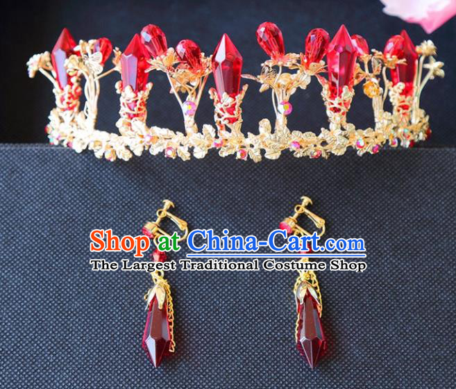 Top Grade Wedding Bride Hair Accessories Princess Red Crystal Hair Clasp Royal Crown for Women