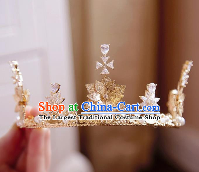 Top Grade Wedding Bride Hair Accessories Princess Crystal Hair Clasp Golden Royal Crown for Women