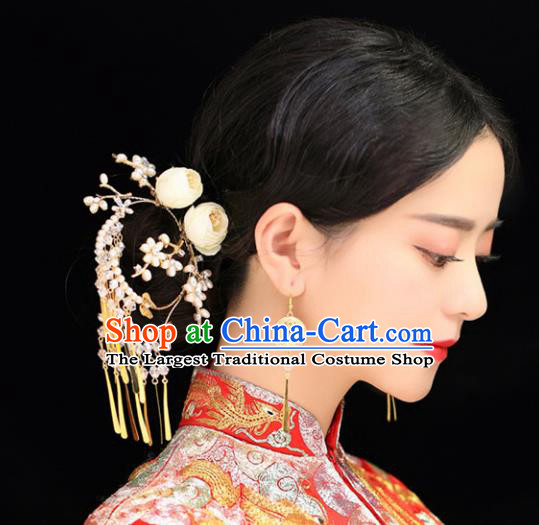 Top Grade Chinese Wedding Bride Hair Accessories Ancient Hairpins Tassel Step Shake for Women