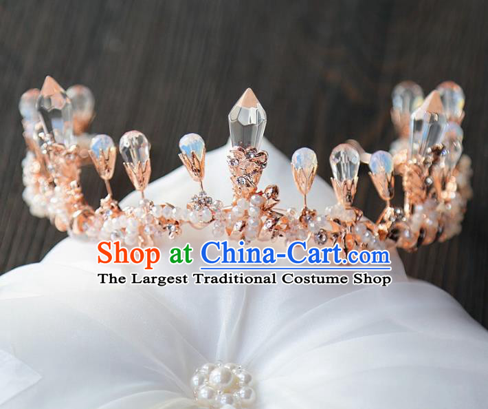 Top Grade Wedding Bride Hair Accessories Baroque Queen Champagne Crystal Royal Crown for Women